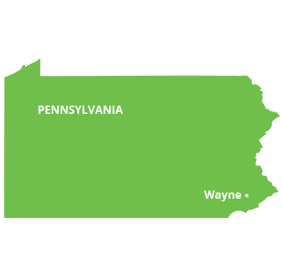 where we service map of pennsylvania featuring wayne