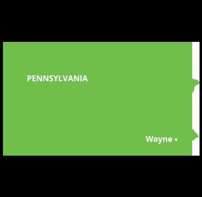 where we service map of pennsylvania featuring wayne