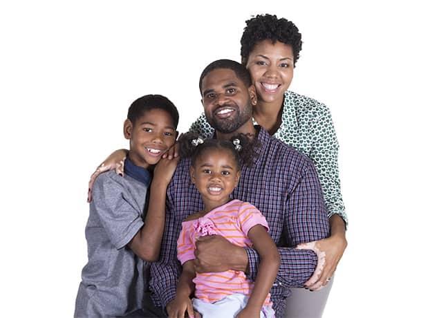 a happy family of four in philadelphia pennsylvania
