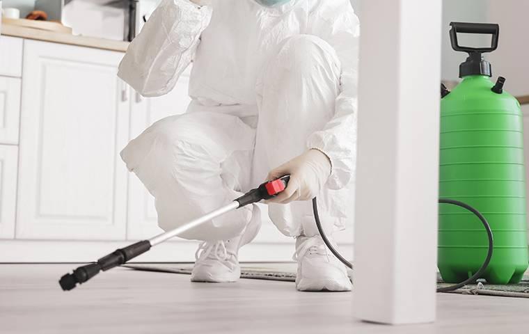 a tech spraying the interior of home