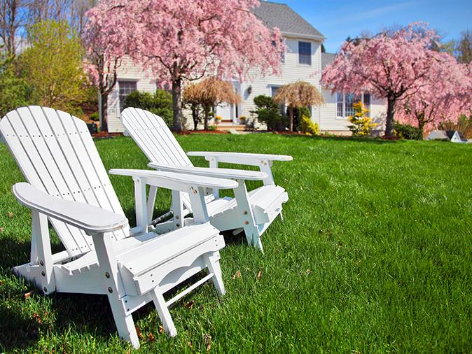 empty chairs on a maine lawn
