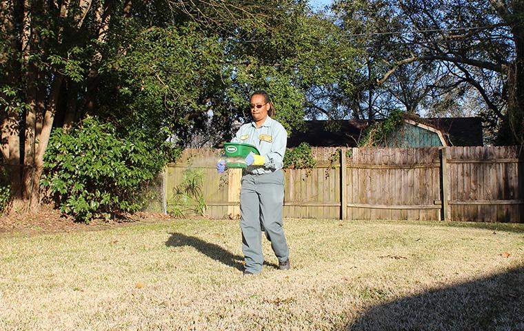 beaumont pest control technician treating yard for fire ants