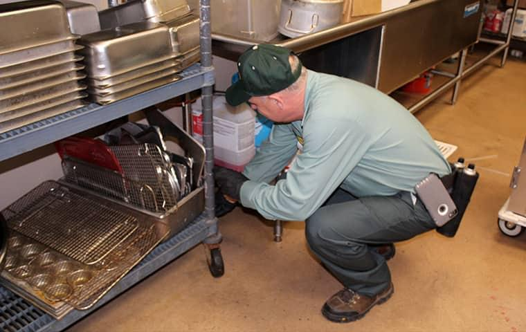 technician cleaning drain in a gilchrist restaurant