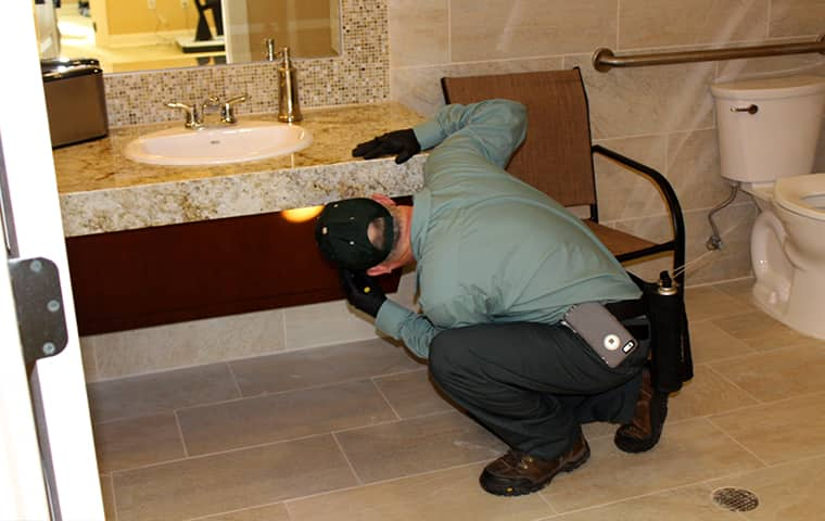 a bill clark bugsperts service technician inspecting a commercial bathroom in vidor texas