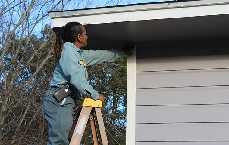 a bill clark bugsperts service technician inspecting the exterior of a home in vidor texas