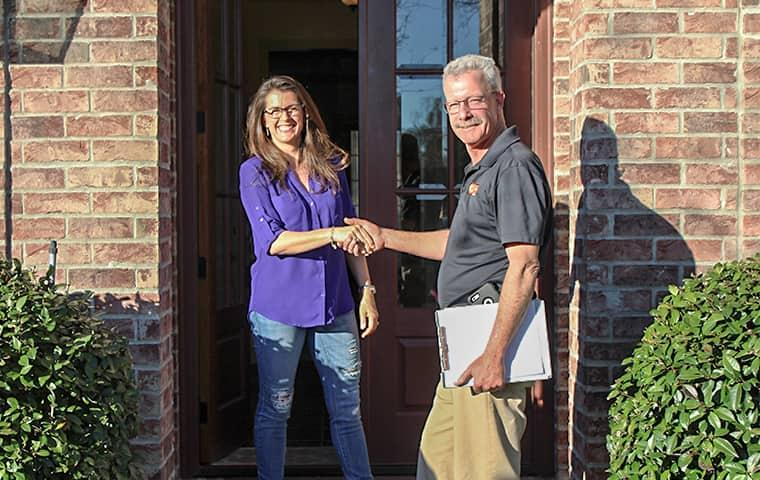 homeowner greeting technician