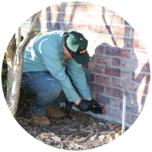 pest control expert treating home