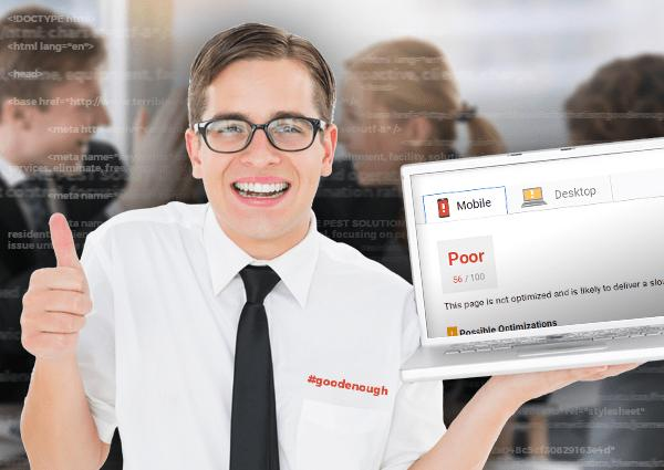 Man with thumbs up celebrating a poor performance website