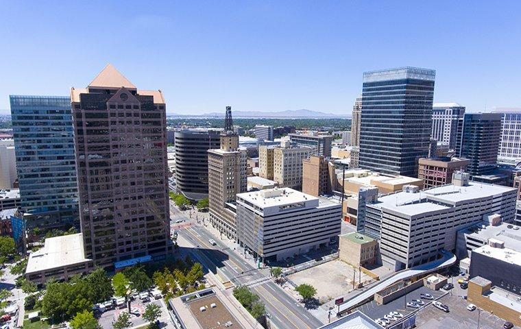 aerial view of commercial buildings in salt lake city
