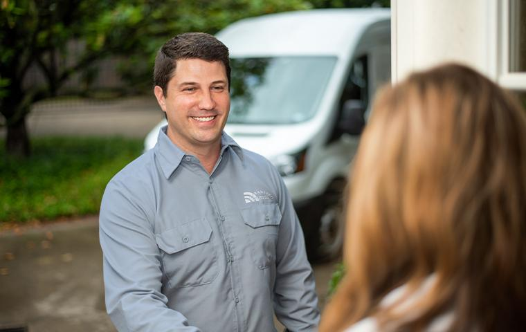 technician greeting client in oklahoma city