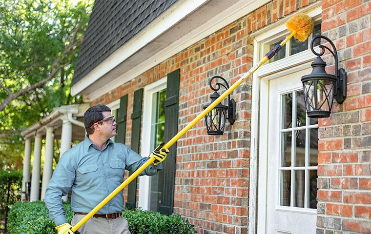 pest expert dewebbing an exterior door