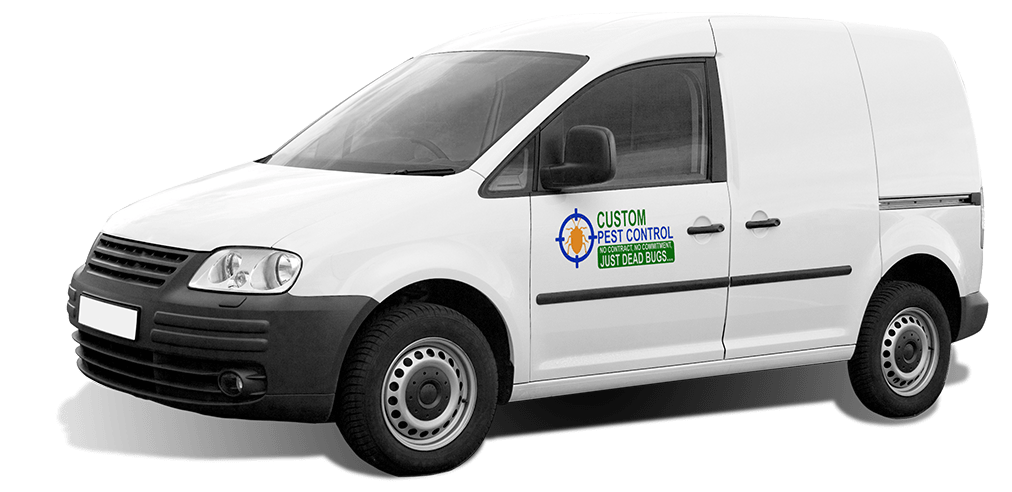 a pest control company service vehicle on a transparent background