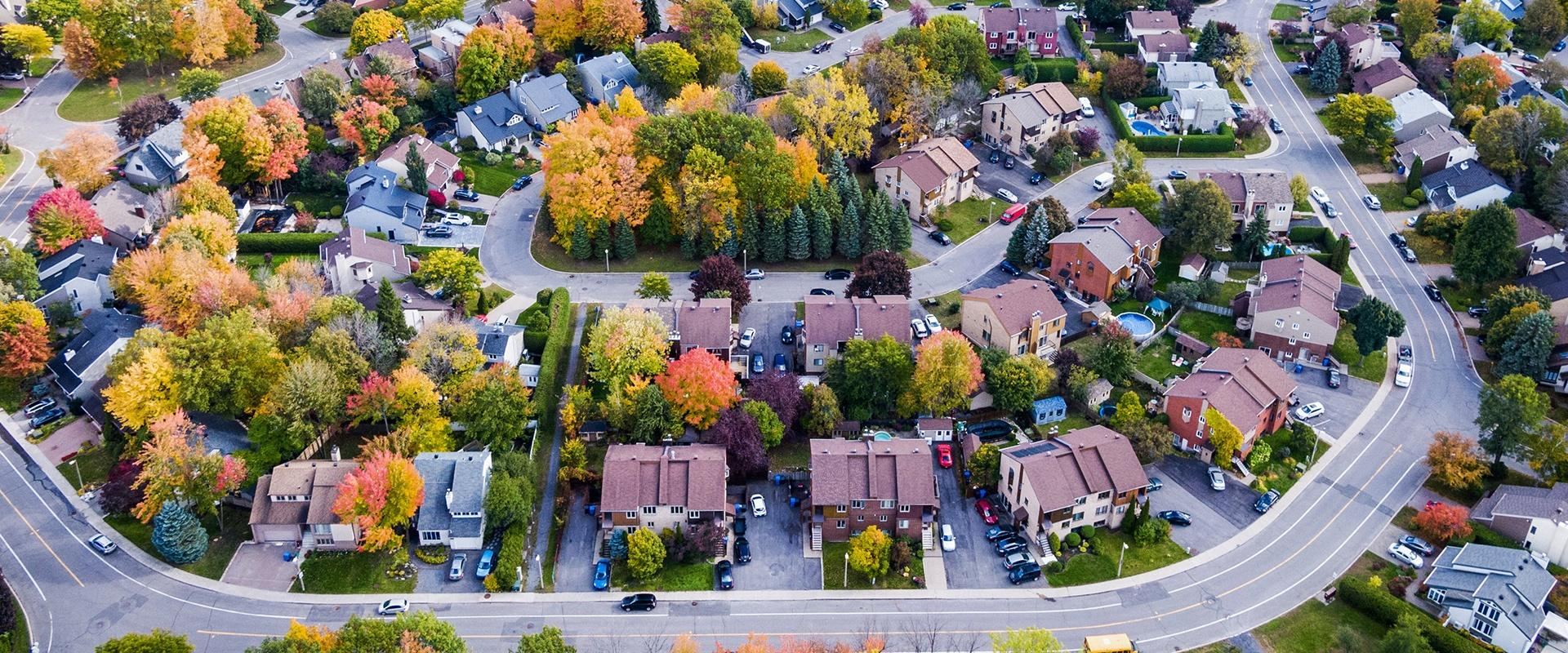 an overhead view of a residential neighborhood