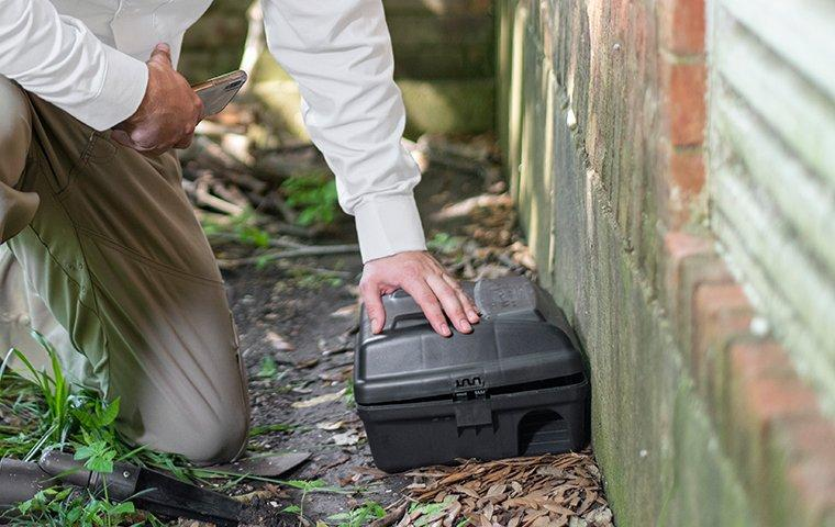 a pest control service technician installing a rodent bait station at the exterior walls of a home
