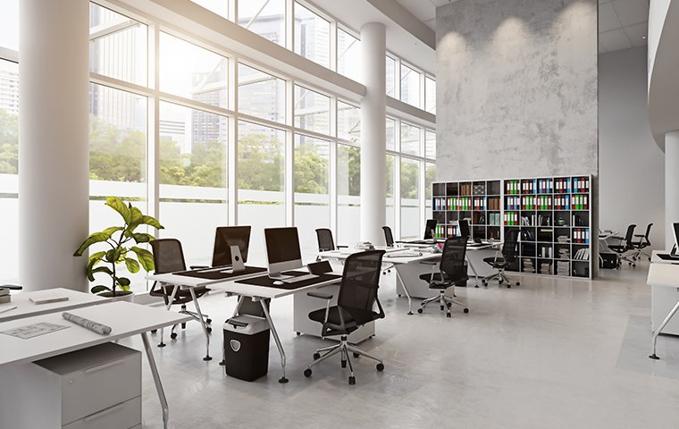 a commercial office building interior