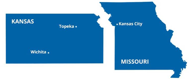 a map illustration of kansas and missouri