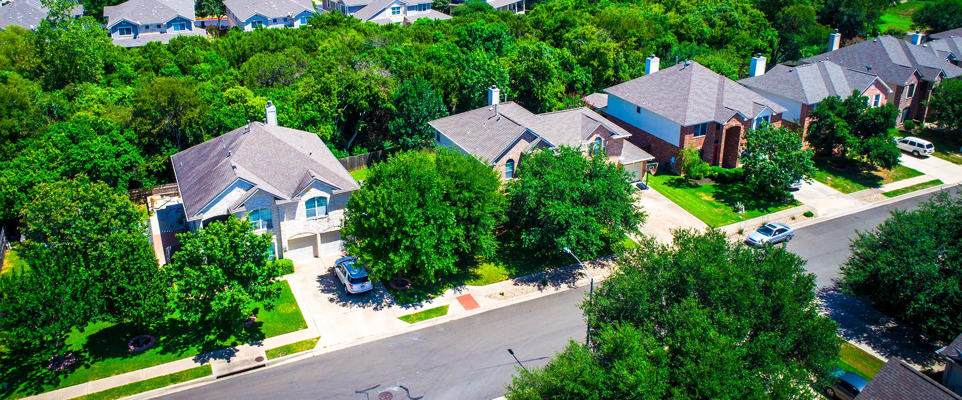 aerial view of houses on street in tarrant county texas