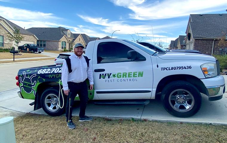 ivy green company truck and technician in tarrant county texas