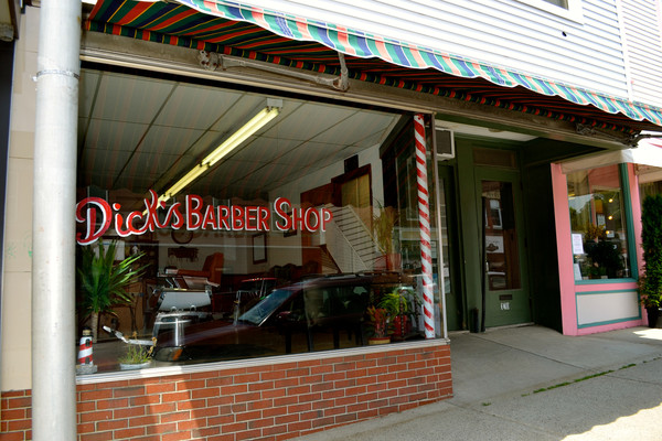 Front of the barber shop!