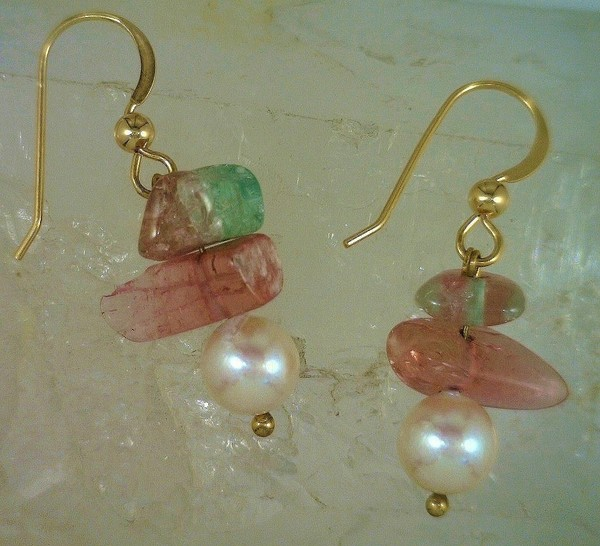 Lustrous Pearl Drops and Tumbled Maine Tourmaline 14 KY Dangles