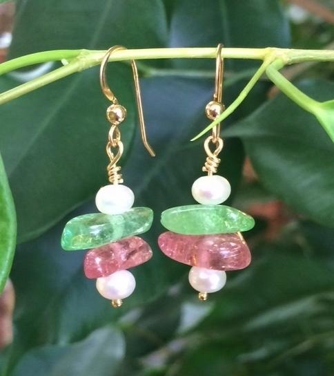 Lustrous Pearl Drops and Tumbled Maine Tourmaline 14 KY Dangles.