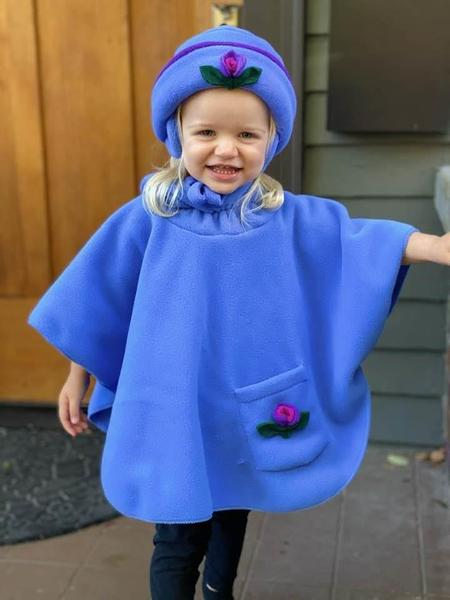 Poncho and Christy Rose Hat in Periwinkle Polartec