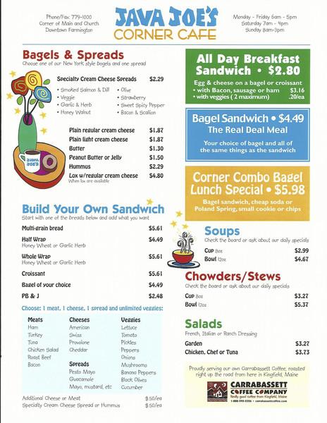 Take a look at the Java Joe's menu!