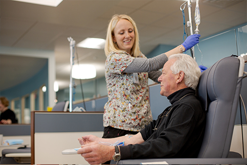 nurse with cancer patient