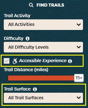 A screenshot of the Find Trails filter indicating the location of the accessible adventure checkbox and surface type search.