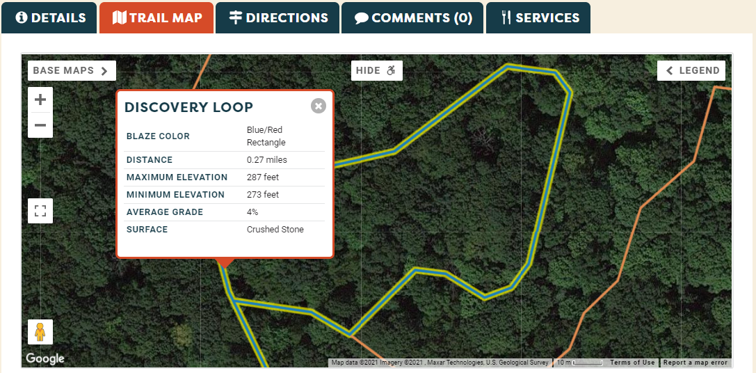 Screenshot showing a pop up with trail-specific information.