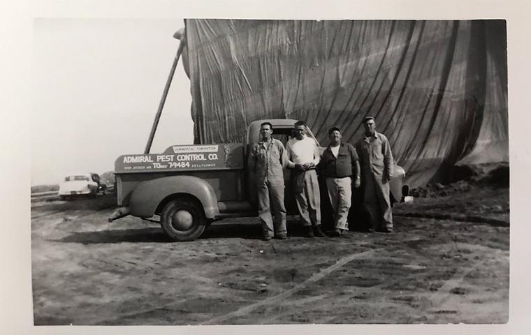 an old photo of the beginning of admiral pest control