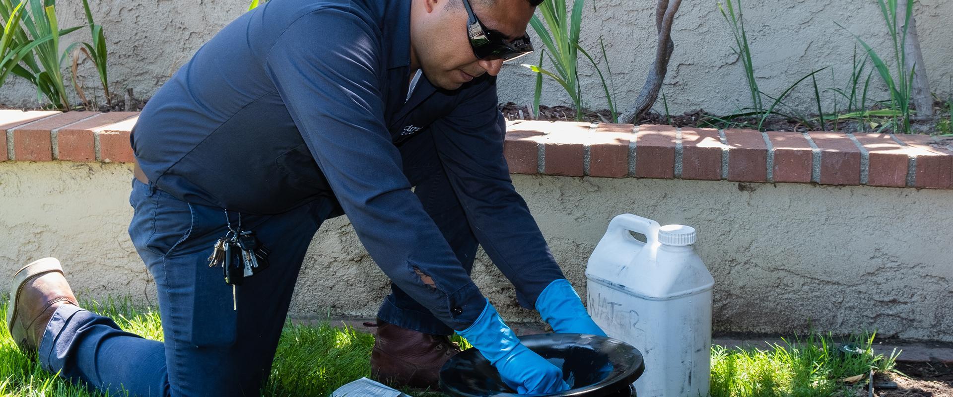 technician kneeling over bait