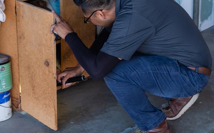 technician inspecting wood cabinet