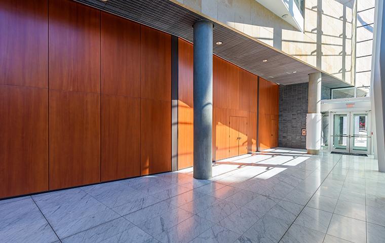 interior of commercial building walkway