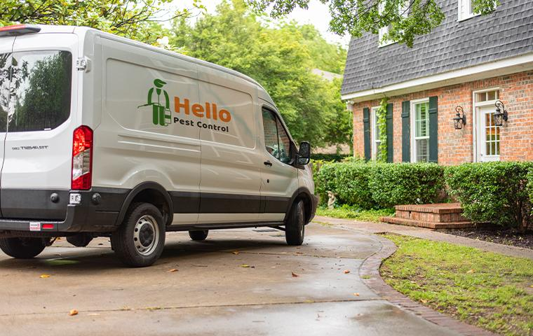 van pulling up in front of residence