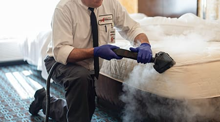 a pest technician treating a bed for bed bugs in bloomingdale illinois