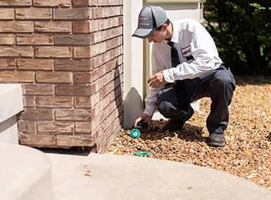 a professional pest control technician from quick kill pest eliminators detecting pest infestation along a quad city home
