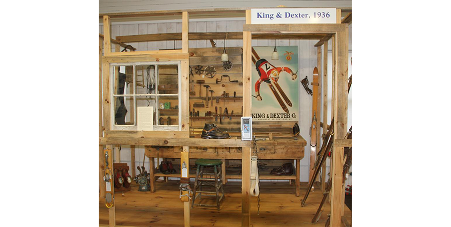 1930's Ski Bench, featuring the Sasha Mauerer poster commissioned by King & Dexter Hardware - Portland, ME