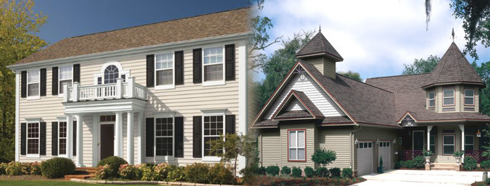 two homes in ohio showing different siding color options available from window nation