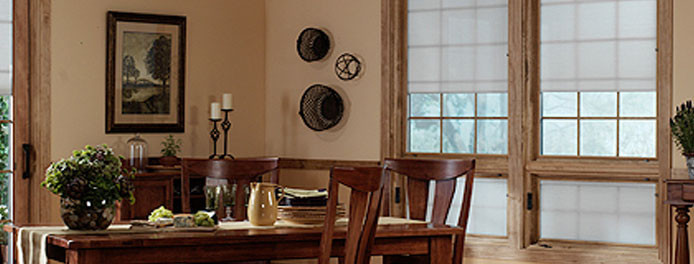 dining room in cleveland home with wooden windows from window nation