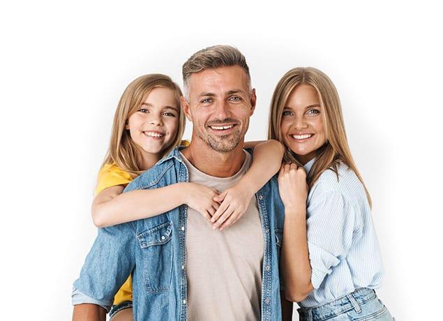 a happy family of three