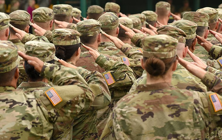 soldiers standing and saluting