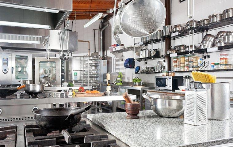 a commercial kitchen in a restaurant