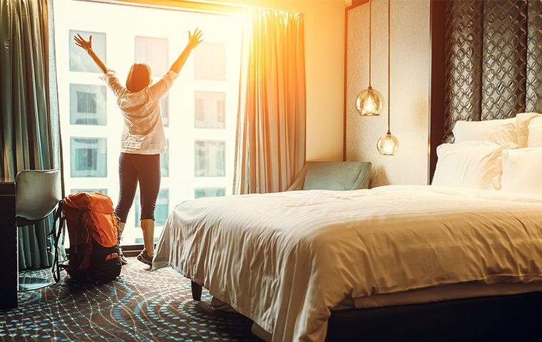 woman in a nice hotel room