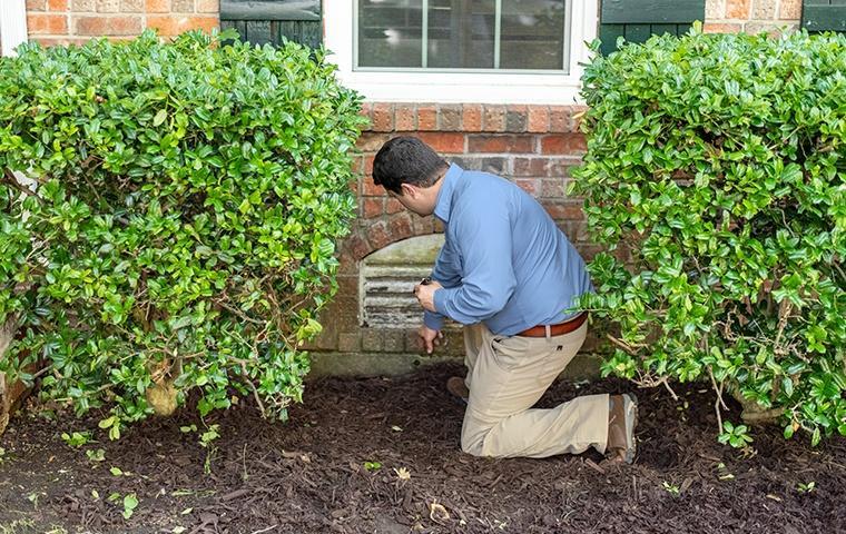 a pest technician inspecting the exterior of a house in modesto california