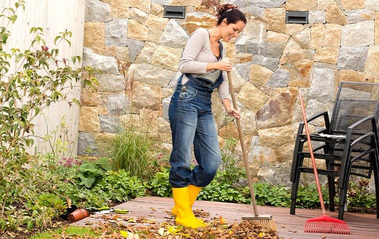 a resident spring cleaning yard for pest prevention