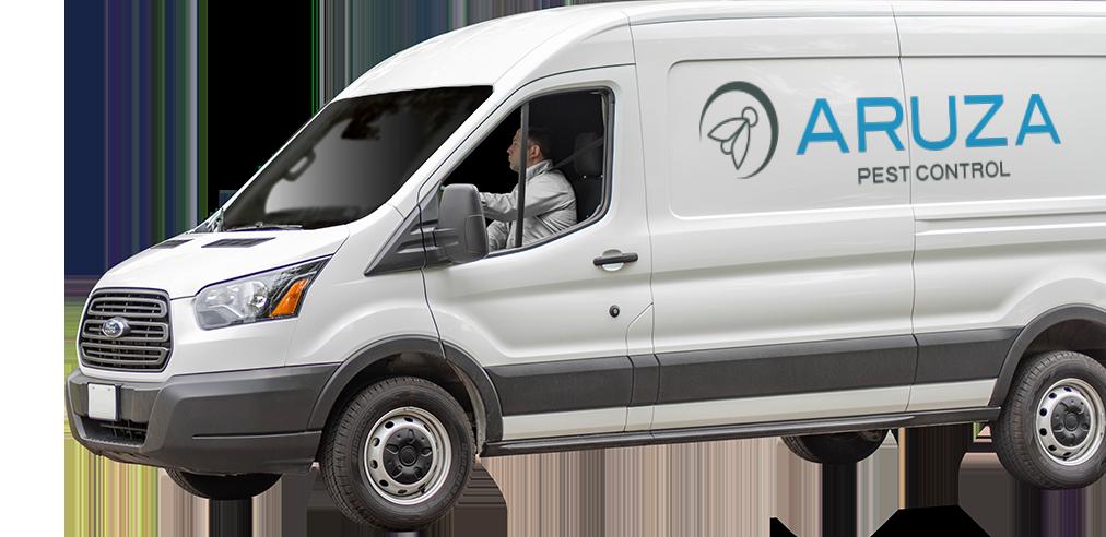 a pest control service vehicle over a transparent background