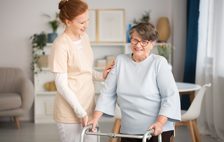 a healthcare service worker and an elderly resident inside a healthcare facility in mishawaka indiana