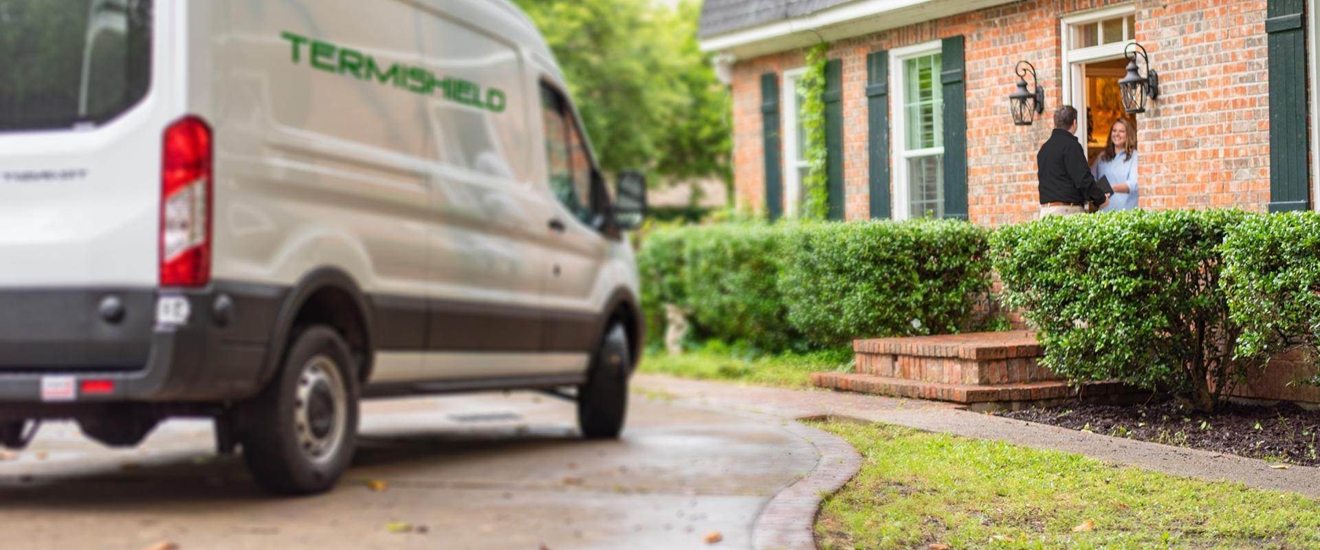 a pest control service technician arriving at a home in south bend indiana