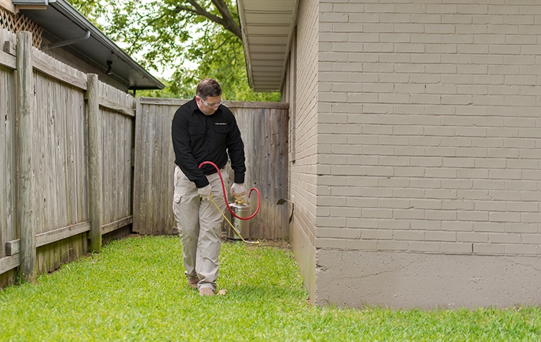 a pest control service technician performing pest treatments outside of a home in new buffalo michigan